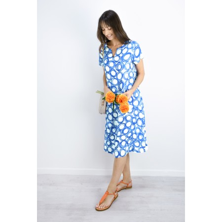 Sahara Graphic Spot Linen Dress - Blue
