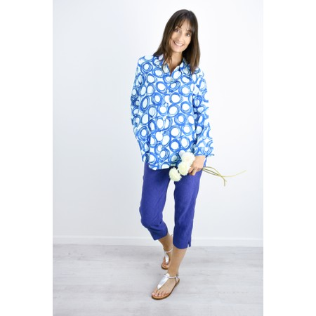 Sahara Graphic Spot Linen Shirt - Blue