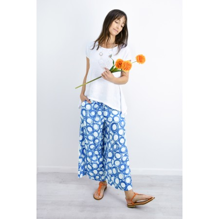 Sahara Graphic Spot Linen Trousers - Blue