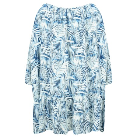 Lara Ethnics Kavina Palm Print Crepe Tunic - Blue