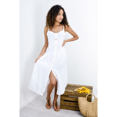 TOC Cammie Linen Easy Fit Dress  - White