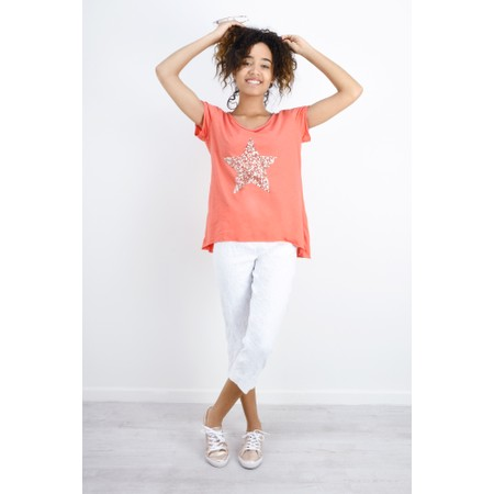 Luella Star Sequin T-Shirt - Orange