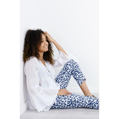 Robell  Nena Ankle Zip Animal Print Trouser - Blue