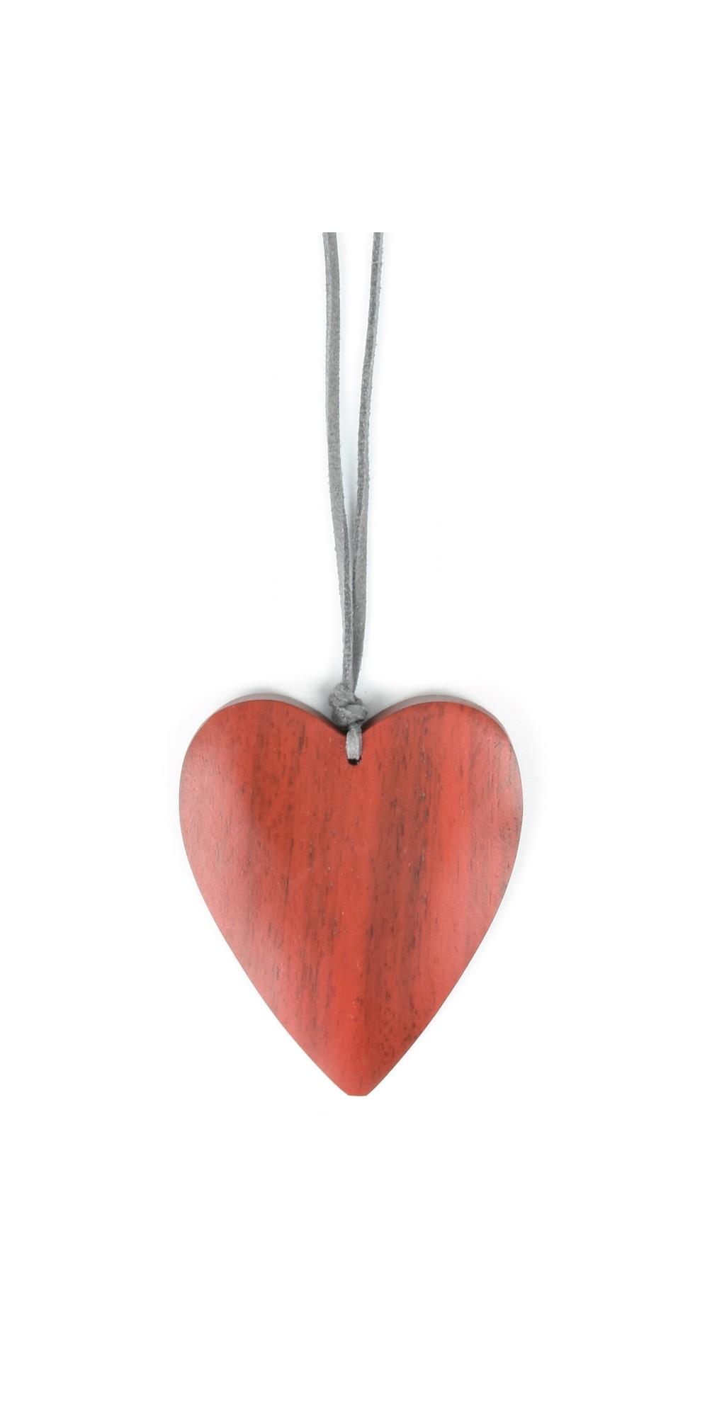 Suzie Blue Teal Blue Wooden Heart Necklace