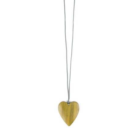 Suzie Blue Astrid Suede Chain Wooden Heart Pendant Necklace - Yellow