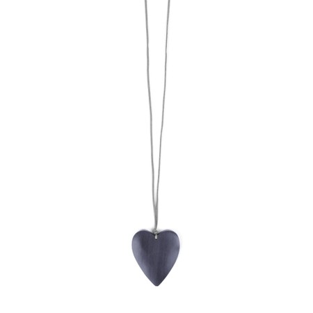 Suzie Blue Astrid Suede Chain Wooden Heart Pendant Necklace - Blue