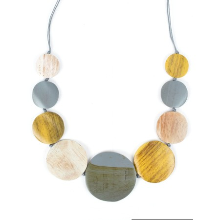 Suzie Blue Wilma Multi Wooden Disc Necklace - Yellow