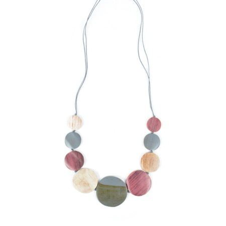 Suzie Blue Wilma Multi Wooden Disc Necklace - Pink