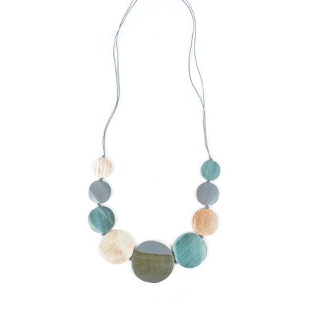 Suzie Blue Wilma Multi Wooden Disc Necklace - Turquoise