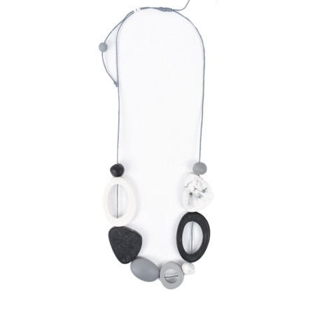 Suzie Blue Nellie Short Mixed Shape Necklace - Blk/wht