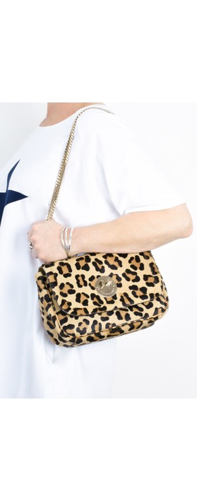 Hill & Friends Happy Cross Body Chain Bag Natural Leopard