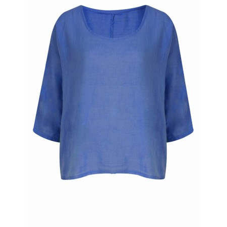 TOC Billie Linen Mix Easy Fit Top - Blue