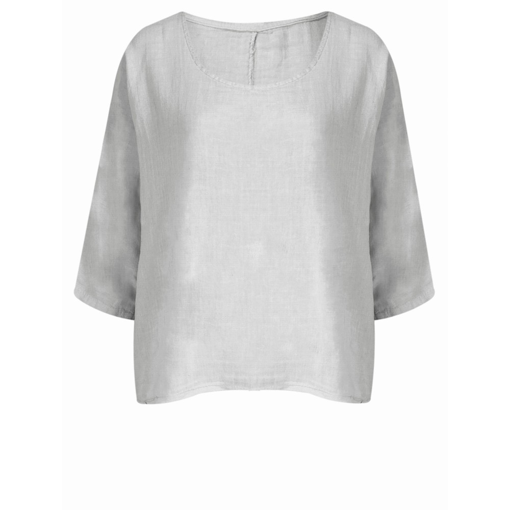 TOC Billie Linen Mix Easy Fit Top Silver