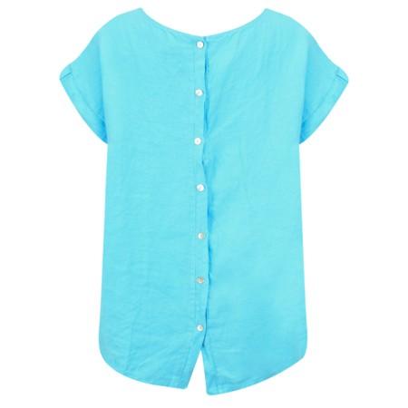Luella Fern Easyfit Linen Top - Turquoise