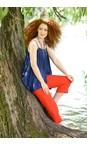 Robell Orange Marie 07 Orange Jacquard Crop Trouser