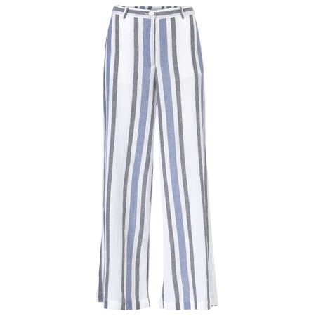Masai Clothing Perinus Stripe Linen Trousers - Blue