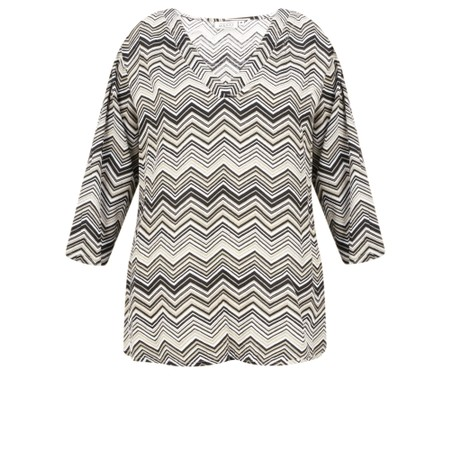 Masai Clothing Darla Zig-Zag Top - Beige
