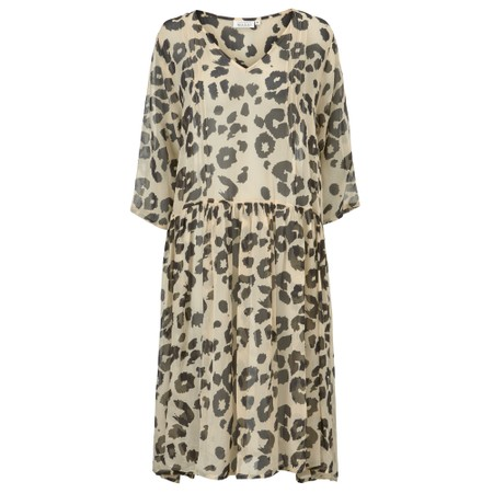 Masai Clothing Neoma Leopard Print Dress - Beige