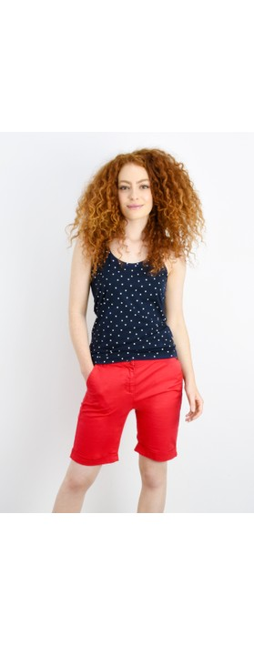 Sandwich Clothing Cross Back Dotted Vest Top Navy