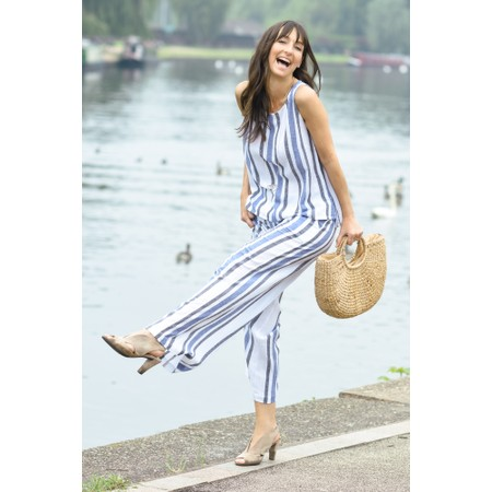Masai Clothing Eda Stripe Linen Top - Blue