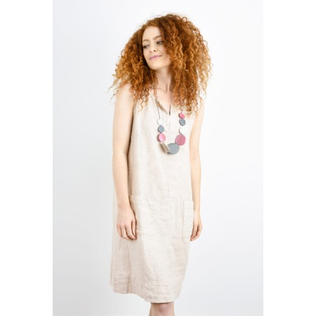 Fenella  Laural Linen Easy Fit Sleeveless Dress - Beige