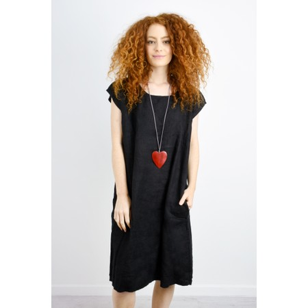 Suzie Blue Astrid Suede Chain Wooden Heart Pendant Necklace - Red