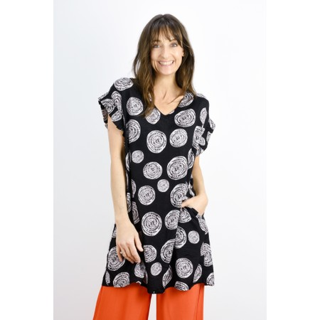 Masai Clothing Gita Circle Print Tunic  - Black