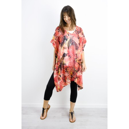 Masai Clothing Helda Fiery Floral Tunic - Orange