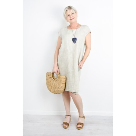 Fenella  Petra Relaxed Fit Cap Sleeve Dress - Beige