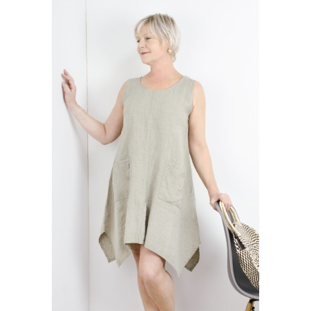 Thing Linen A-Shape Sleeveless Tunic Dress With Pockets - Beige