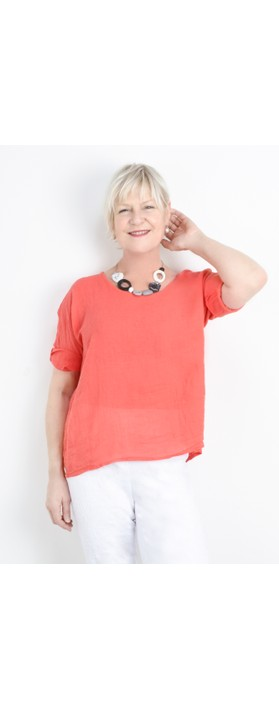 TOC Billie Linen Mix Easy Fit Top Coral