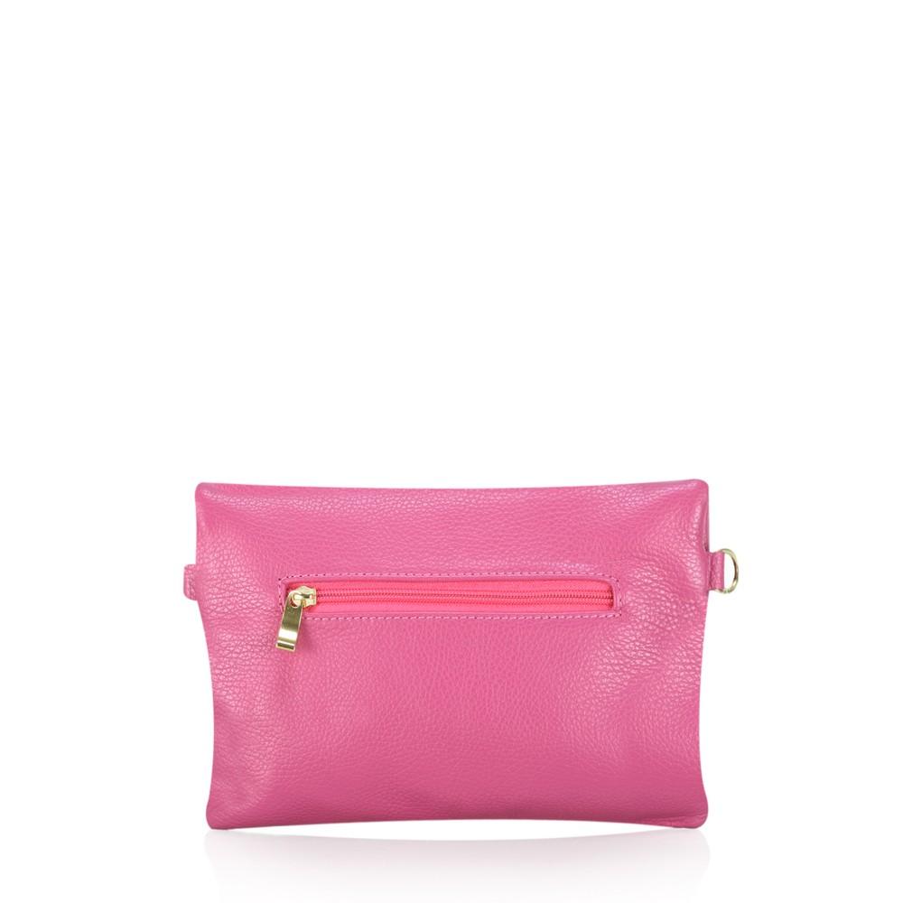 Gemini Label Bags Rieti Leather Clutch Fuchsia**