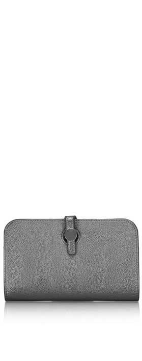 Gemini Label Bags Meli Pleather Matinee Purse Pewter