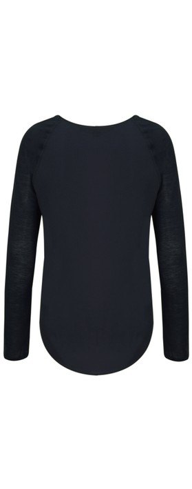 French Connection Classic Polly Plains Top  Utility Blue