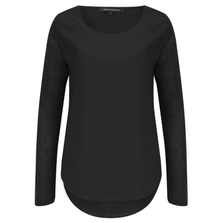 French Connection Classic Polly Plains Top  - Black