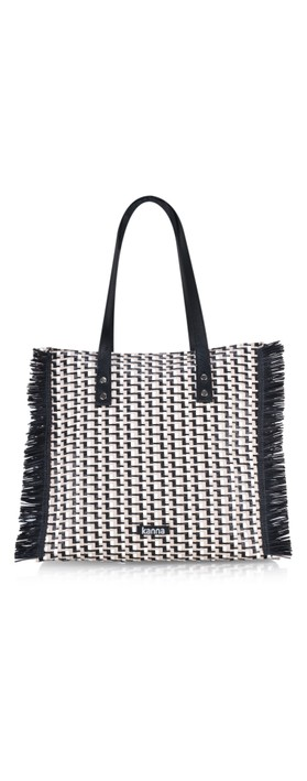 Kanna Babi Leather Rafia Handbag Multi