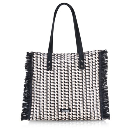 Kanna Babi Leather Rafia Handbag - Multicoloured