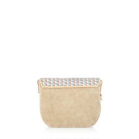 Kanna Mica Leather Rafia Cross Body Bag - Multicoloured