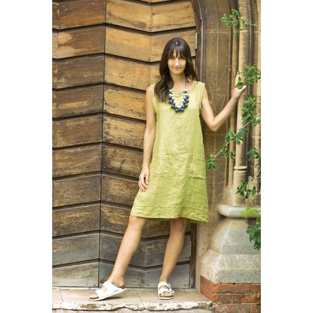 Fenella  Laural Linen Easy Fit Sleeveless Dress - Green