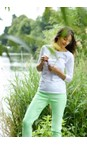 Robell Pale Lime 183 Bella 09 Pale Lime Ankle Length Crop Cuff Trouser