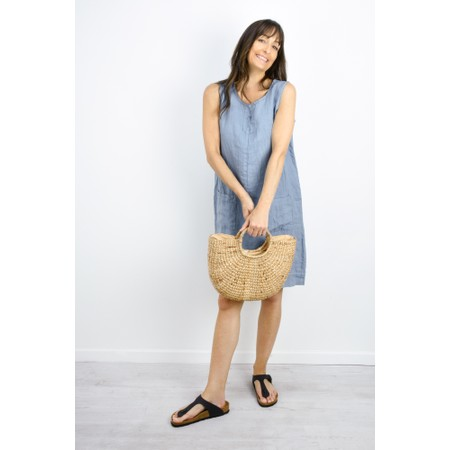 Fenella  Laural Linen Easy Fit Sleeveless Dress - Blue