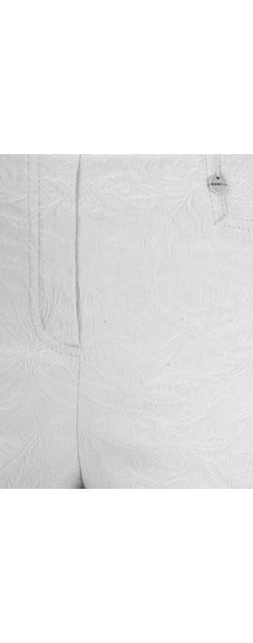 Robell Rose 09 Grey Ankle Length Jacquard Slimfit Trouser Grey