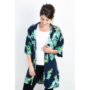 Sandwich Clothing Palm Leaf and Stripe Print Kimono