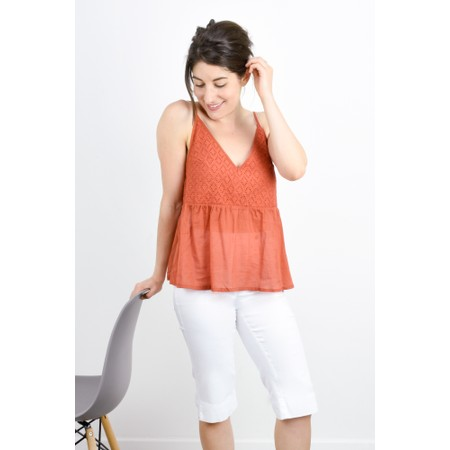 Lara Ethnics Manon Broderie Strappy Top - Orange