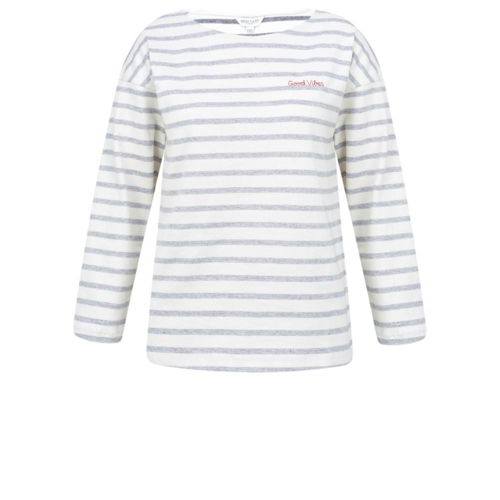 Great Plains Good Vibes Stripe Long Sleeve Top Milk/s navy/ crimson