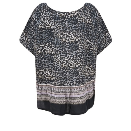 Masai Clothing Duscha Leopard Print Top - Blue