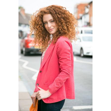 Adini Seersucker Solid Emmy Jacket - Red