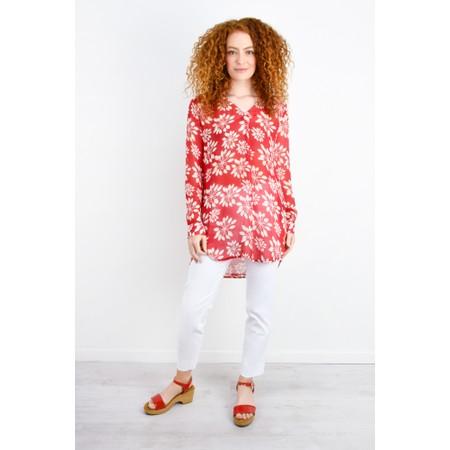 Adini Grass Lily Print Carolee Tunic - Red