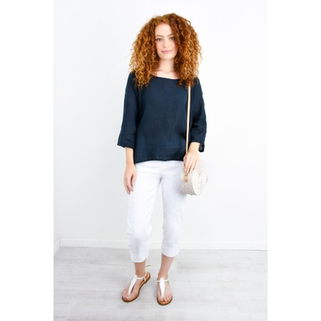 TOC  Billie Linen Easy Fit Top - Blue