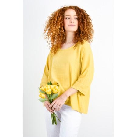 TOC  Billie Linen Mix Easy Fit Top - Yellow